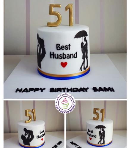Man Themed Cake - Silhouette - Husband