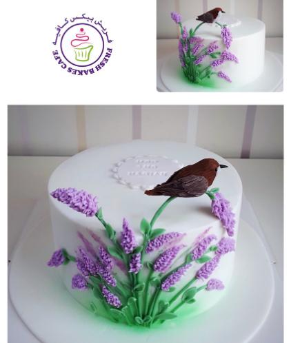 Bird Themed Cake - 3D Cake Topper & Fondant Lavender