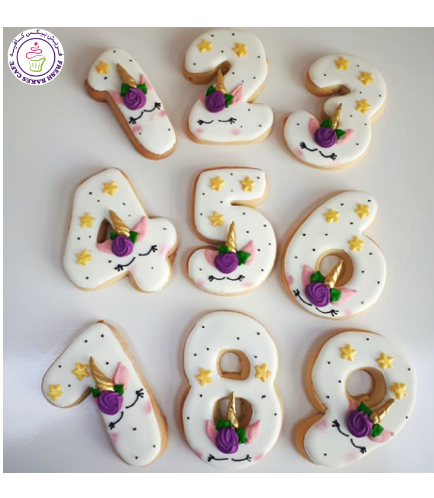 Birthday Number Themed Cookies - Unicorn 02