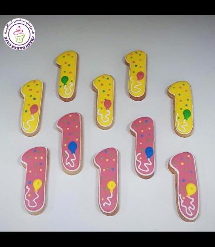 Cookies - Number 01 - Balloon - Pink & Yellow