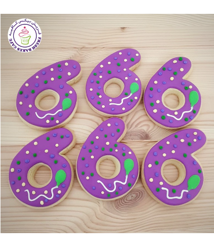 Birthday Number Themed Cookies - Balloon - Number 06