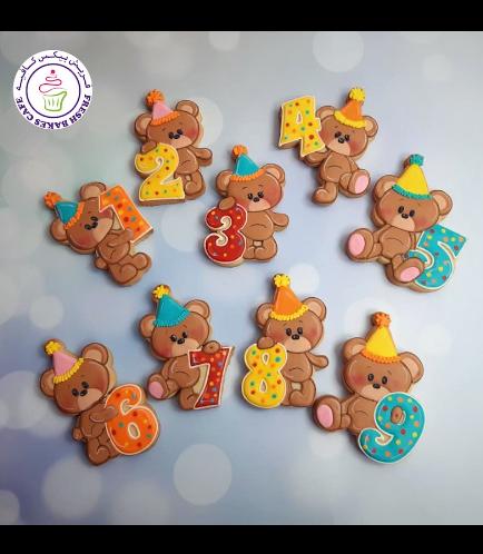 Bear Themed Cookies - Birthday Numbers 02