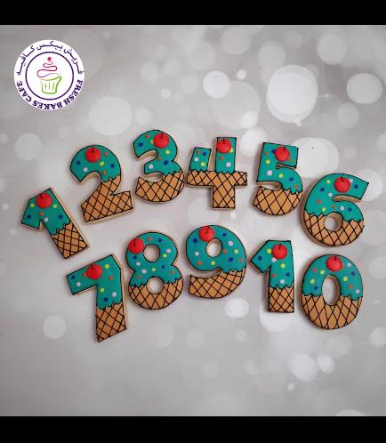 Ice Cream Themed Cookies - Birthday Numbers