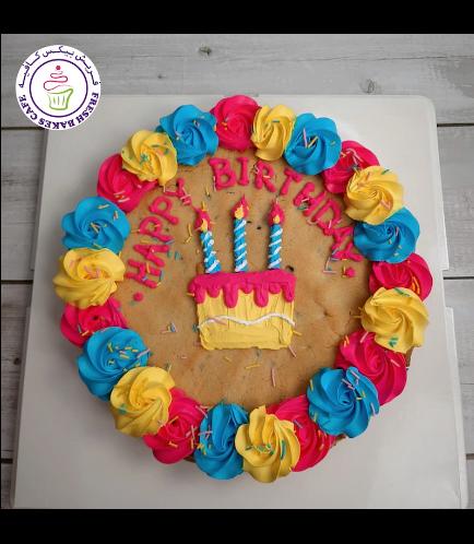 Birthday Themed Chocolate Chip Cookie Cake - Birthday Cake 01