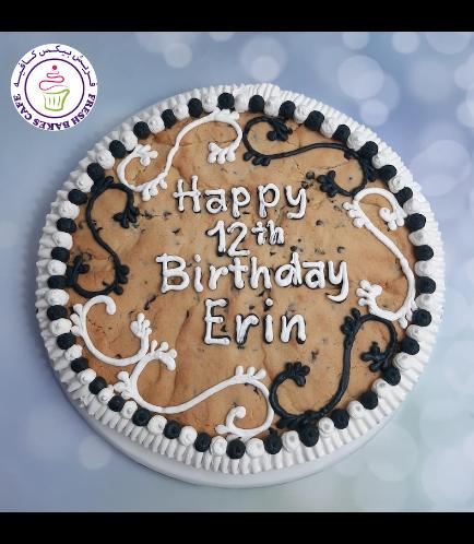 Birthday Themed Chocolate Chip Cookie Cake - Cream Piping - Black & Pink