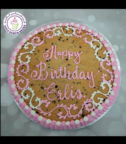 Birthday Themed Chocolate Chip Cookie Cake - Cream Piping - White & Pink