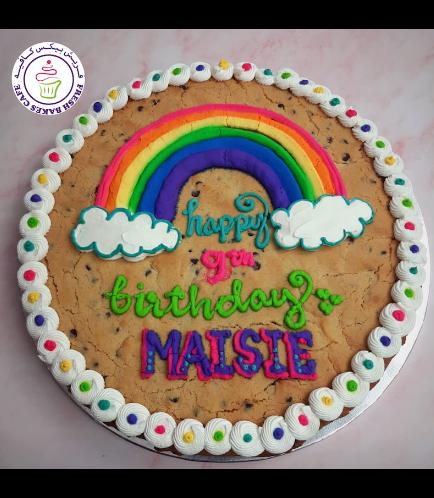Birthday Themed Chocolate Chip Cookie Cake - Rainbow