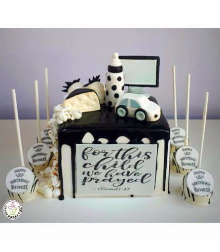 Black & White First Birthday Cake & Cupcakes