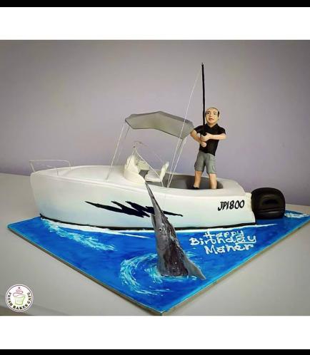 Boat Themed Cake - Motor Boat - 3D Cake 01