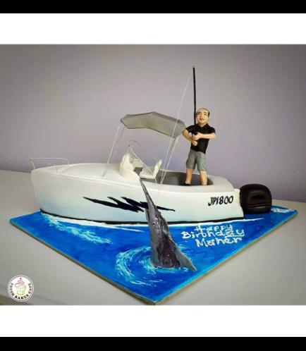 Fishing Themed Cake - 3D Fisherman & Boat Cake
