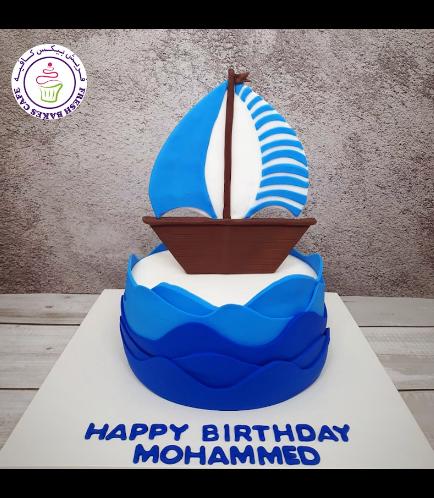 Boat Themed Cake - Sailboat - 2D Cake Topper - 1 Tier 02