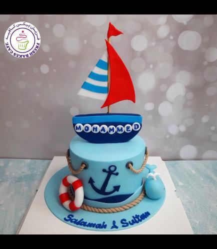 Boat Themed Cake - Sailboat - 2D Cake Topper - 1 Tier 03