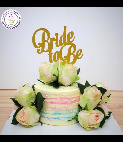 Bridal Shower Themed Cake - Natural Roses