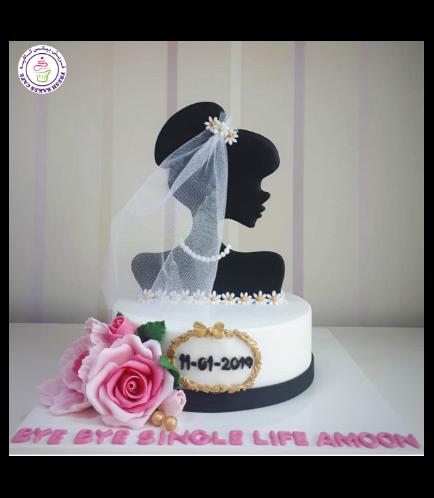 Bridal Shower Themed Cake - 2D Bride Silhouette Cake Topper 05