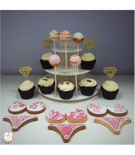 Bridal Shower Themed Cake Pops, Cupcakes, & Cookies