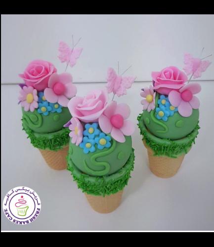 Cone Cake Pops - Butterflies & Flowers 01