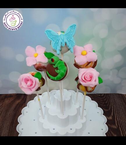 Butterfly, Lizard, & Flowers Themed Cake Pops