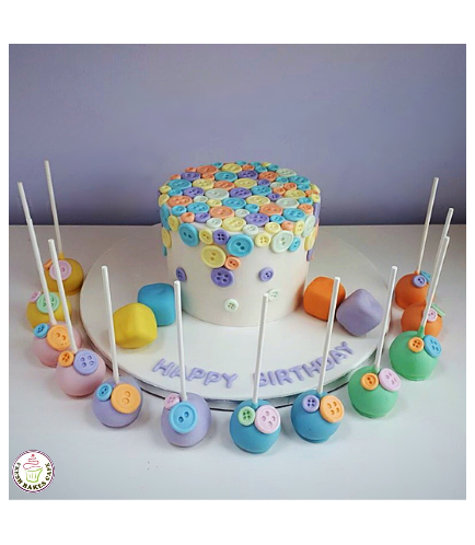 Buttons Themed Cake 01b