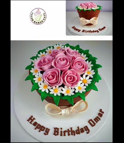 Flower Pot Themed Cake 05