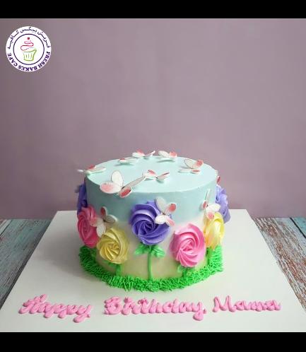 Cake - Flowers - Cream Piping & Butterflies