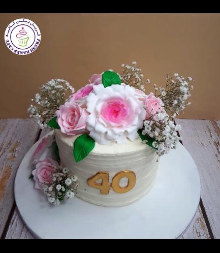 Cake - Flowers - Cream Cake - 1 Tier 06