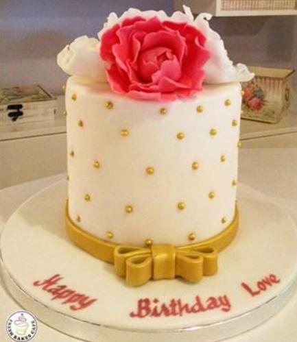 Cake - Peonies - 1 Tier 01