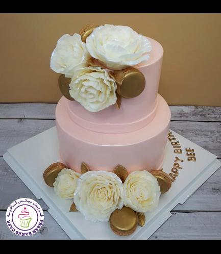 Cake - Peonies & Macarons