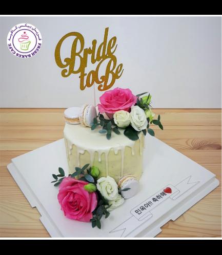 Bridal Shower Themed Cake - Natural Roses & Macarons
