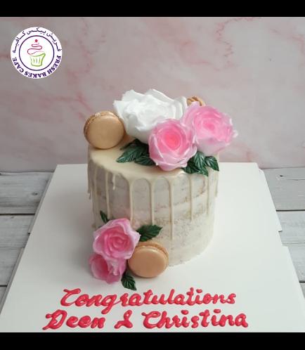 Cake with Fondant Flowers & Macarons 07