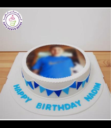 Cake - Photo - Round - Fondant - Banner - Blue