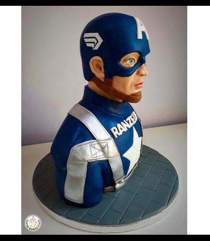 Captain America Themed Cake - Bust Cake 01b
