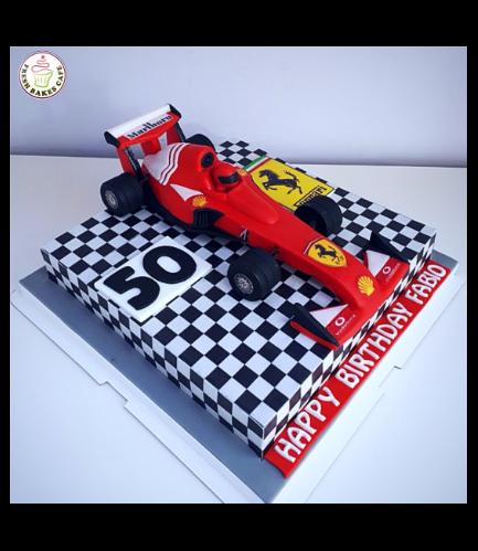 Car Themed Cake - Ferrari Car - 3D Cake Topper - 1 Tier 01a