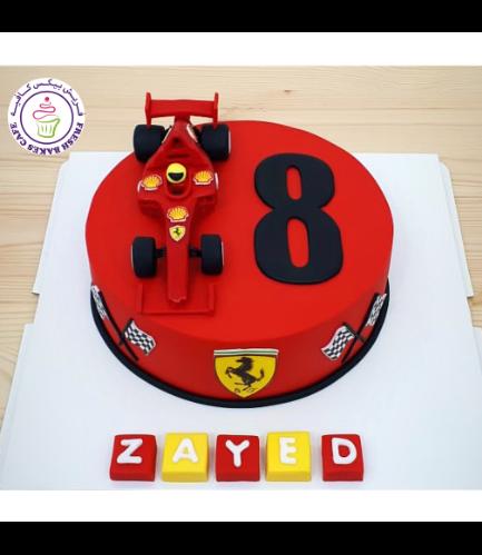 Car Themed Cake - Ferrari Car - 3D Cake Topper - 1 Tier 02