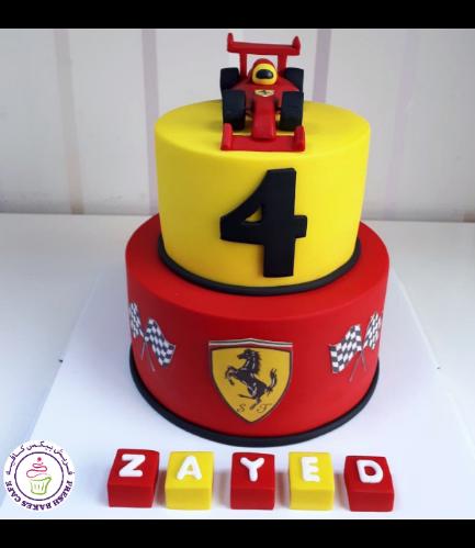 Car Themed Cake - Ferrari Car - 3D Cake Topper - 2 Tier 01