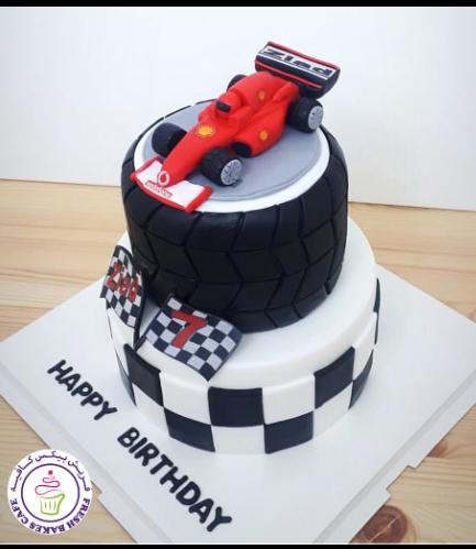 Car Themed Cake - Ferrari Car - 3D Cake Topper - 2 Tier 02