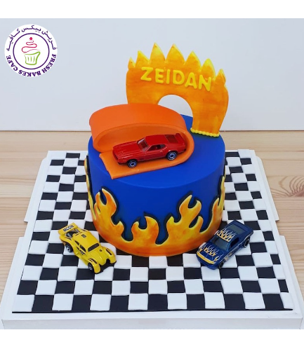 Car Themed Cake - Hot Wheels Themed Cake - 2D Cake Toppers & Toys - 1 Tier 01