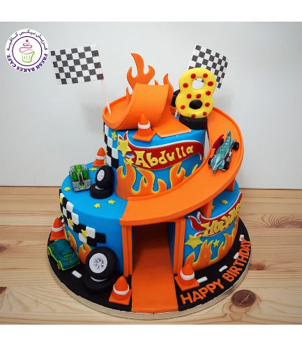 Car Themed Cake - Hot Wheels Themed Cake - 2D Cake Toppers & Toys - 2 Tier