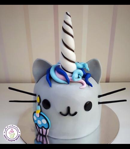 Cat Themed Cake - Pusheen Unicorn - Head - 2D Cake