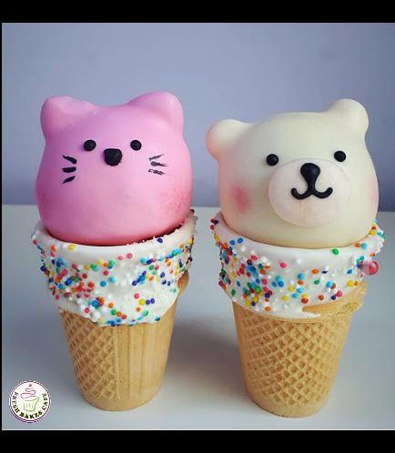 Cat & Bear Themed Cone Cake Pops