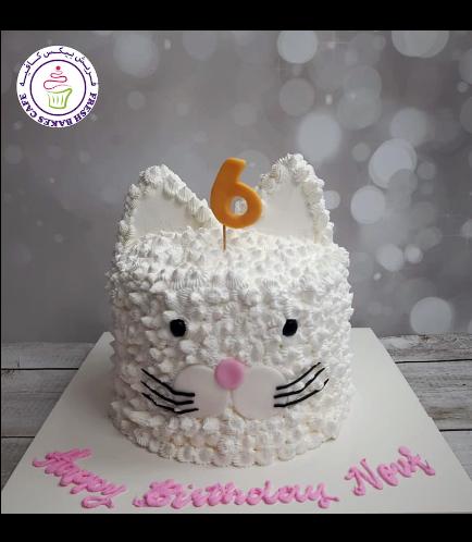 Cat Themed Cake - Cat Head - 2D Cake  - Cream Cake 02