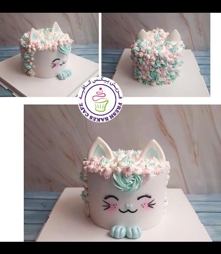 Cat Themed Cake - Cat Head - 2D Cake  - Fondant Cake - Cream Piping 05