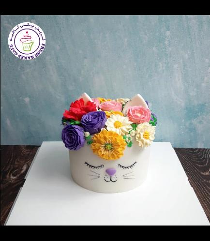 Cat Themed Cake - Cat Head - 2D Cake  - Fondant Cake - Flowers 02