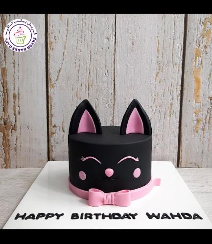 Cat Themed Cake - Cat Head - 2D Cake  - Fondant Cake 01b