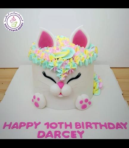 Cat Themed Cake - Cat Head - 2D Cake  - Fondant Cake 09