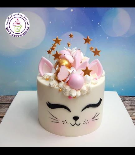 Cat Themed Cake - Cat Head - 2D Cake  - Crown 01 - White