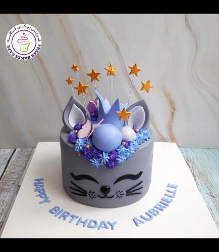 Cat Themed Cake - Cat Head - 2D Cake  - Crown 01 - Grey