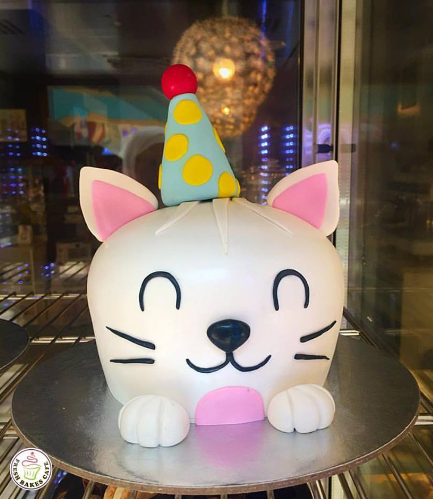 Cake - Cat with Party Hat - 2D Dome Cake 03