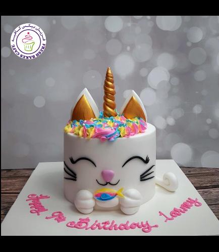 Cat Themed Cake - Cat Unicorn - Fondant Cake