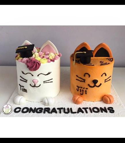 Cat Themed Cake - Cat Head - 2D Cake  - Cream Cake - Graduation