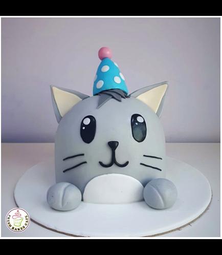 Cat Themed Cake - Cat Head - 2D Cake  - Fondant Dome Cake 02
